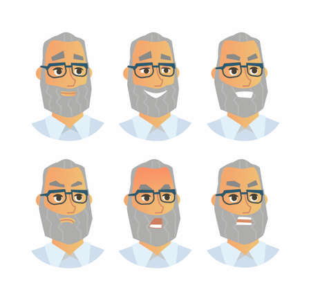Senior Expressions - vector flat illustration of a random person, employer, supervisor, colleague, employee, cartoon character. Number of faces depicting emotions, angry, smile, happy, smirk, shout, Фото со стока - 86087501