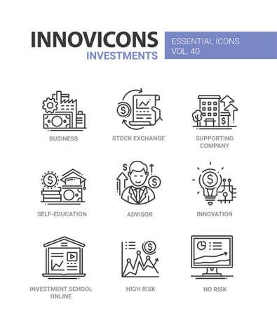Investeringen - moderne vector lijn ontwerp pictogrammen instellen. Bedrijf, beurs, ondersteunend bedrijf, zelfstudie, adviseur, consultatie, innovatie, online beleggingsschool, hoog en geen risico's