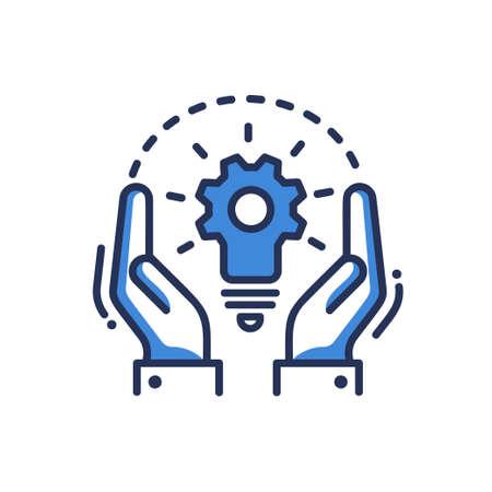개념 - 현대 벡터 단일 라인 디자인 아이콘. 두 손, 기어와 전구의 조합을 묘사 한 이미지. 파란색, 흰색 배경입니다. 프로젝트에 대한 창의적인 아이디