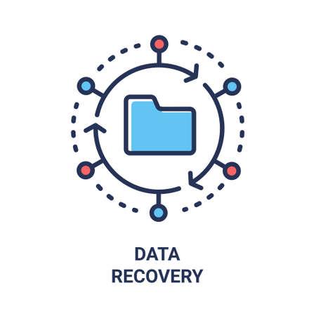 데이터 복구 - 현대 벡터 단일 라인 디자인 아이콘. 원 안에 폴더의 이미지는 화살표와 점, 빨강 및 파랑 색으로 만들었습니다. 흰색 배경. 클라우드 기술 프레 젠 테이 션. 스톡 콘텐츠 - 86148438