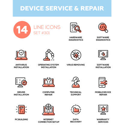 Device service repair - modern vector single line icons set. Hardware diaognostics, software, antivirus, operating system installation, virus removing, technial support, pc building, internet connection setup, data recovery, warranty service Illustration