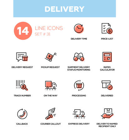 Delivery - modern vector single line icons set. Time, price list, request, pickup request, shipment status monitoring, rates calculator, track number, processing, callback, courier callout express Illustration