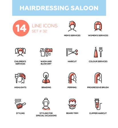 Hairdressing Saloon - modern vector single line icons set Reklamní fotografie - 86148443