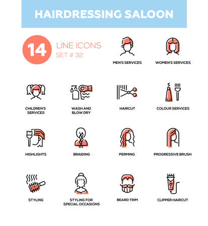 Hairdressing Saloon - modern vector single line icons set