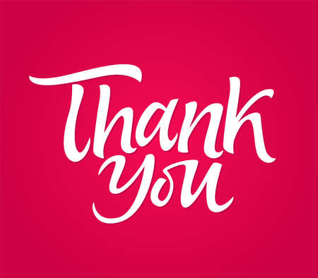 Thank you - vector drawn brush pen lettering message