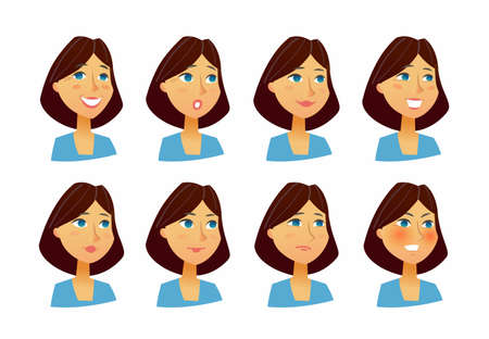 Expressions de femme - vecteur plat ensemble d & # 39 ; images Banque d'images - 86148454