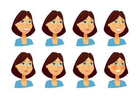 Vrouwuitdrukkingen - vector vlakke reeks beelden