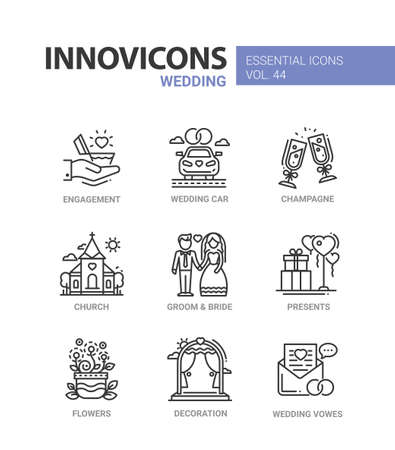 Wedding - modern vector line design icons set. Engagement, car, heart, ring, champagne, glass, church, groom, bride, present, balloon, flower vase, decoration, vow. Have a happy family Иллюстрация