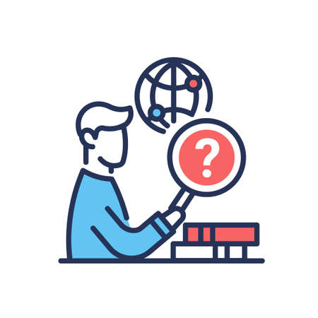 Research Work - modern vector single line design icon. An image of a person, man, worker, employee with a red question sign, books, globe with dots. Business training, online education presentation.