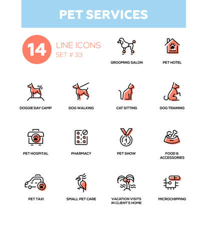 grooming: Pet services - modern vector single line icons set. Grooming salon, hotel, day camp, training, walking, hospital, food, show pharmacy taxi care microchipping