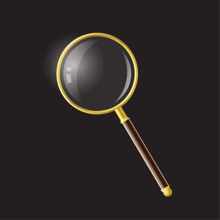 虫眼鏡 - 現代ベクトル現実的な黒い背景上のオブジェクト図を分離しました。高品質のクリップアート。金色と茶色の手、ルーペ、拡大レンズ、検