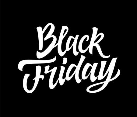 Black Friday - vector hand drawn brush pen lettering design image. Black background. Use this high quality calligraphy for your banners, flyers, cards. Improve your sales, get the desired profit. Illustration