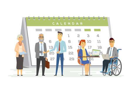 Teamwork for business metaphor - modern cartoon people characters illustration