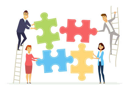 Teamwork and cooperation for business - modern cartoon people characters illustration Çizim