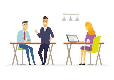 Koffiepauze in het kantoor - moderne cartoon mensen karakters illustratie. Een zittende vrouw controleert haar e-mails op de computer, twee lachende mannen praten, drinken, hebben een goede tijd. Concept van teamwork Stock Illustratie