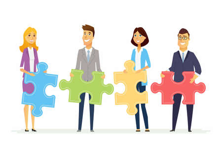 Teamwork in a company - modern cartoon people characters illustration with smiling businesspeople holding puzzle pieces and standing together. Creative metaphorical concept of unity and partnership Illustration