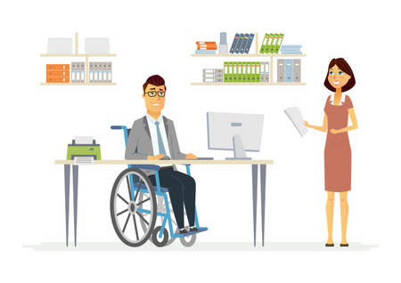 Person with disabilities at work - modern cartoon people characters illustration with a handicapped man in wheelchair and smiling woman in a comfortable office. Concept of equal rights for everyone