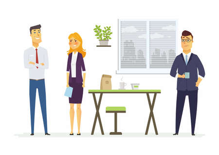 Strained relations in the office - modern cartoon people characters illustration with a furious woman angry with two colleagues. An image of a comfortable workplace with a table, plant, window, coffee Illusztráció