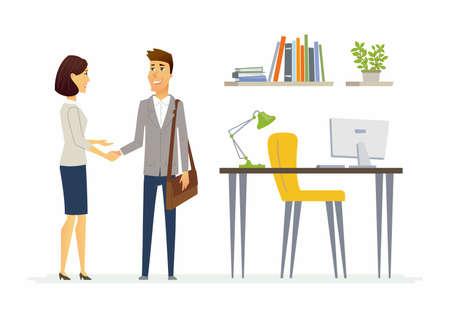 Comunicación empresarial productiva - personajes de dibujos animados modernos personajes ilustración con dos empleados sonriendo y agitando las manos. Un ejemplo de buenas relaciones en el trabajo y ambiente positivo