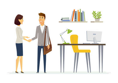 Productive business communication - modern cartoon people characters illustration with two employees smiling and shaking hands. An example of good relations at work and positive atmosphere