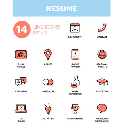 Resume - modern simple thin line design icons, pictograms set