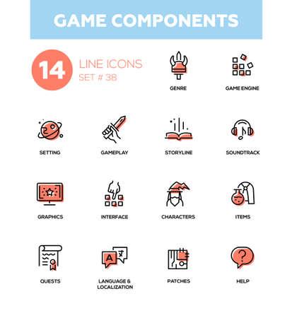 composants de jeu - vecteur ligne moderne icônes du jeu ensemble