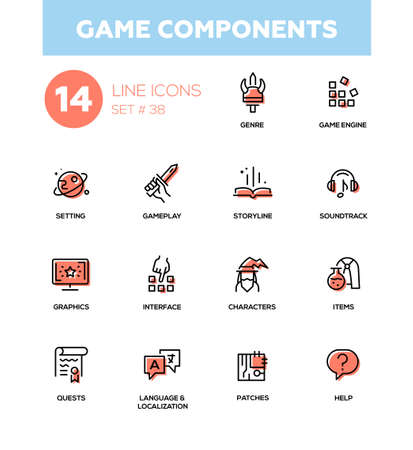 Game Components - modern vector single line icons set