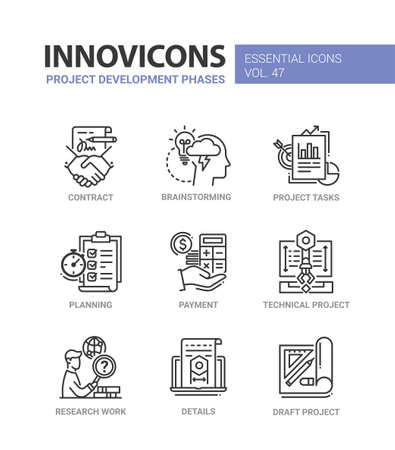 Project Development Phases - modern vector line icons set Illustration