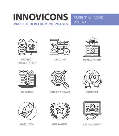Project Development Phases - modern vector line icons set 向量圖像
