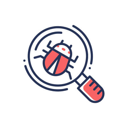 Bug in magnifying glass - modern vector line design single icon.