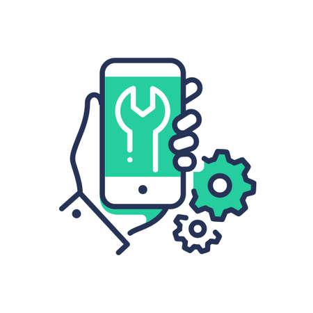 Mobile Device Repair - modern vector line design single icon. Illustration