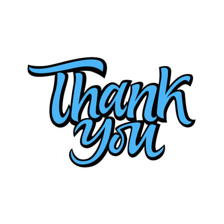 Thank you - vector drawn brush lettering.