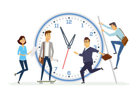 Time management in a company - modern cartoon people characters illustration Stock Photo