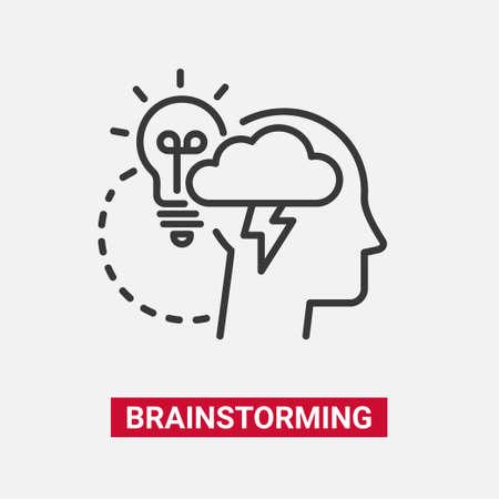 브레인 스토밍 - 현대 벡터 단일 라인 디자인 아이콘. 일러스트