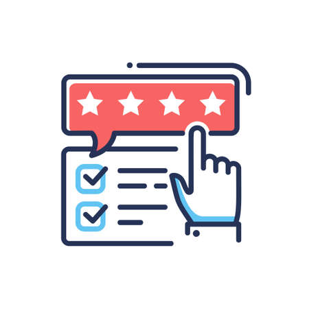 Feedback - modern vector single line design icon. An image of check marks, four star rating bubble and a pointing hand, red, blue colors. Web site, application rating presentation.