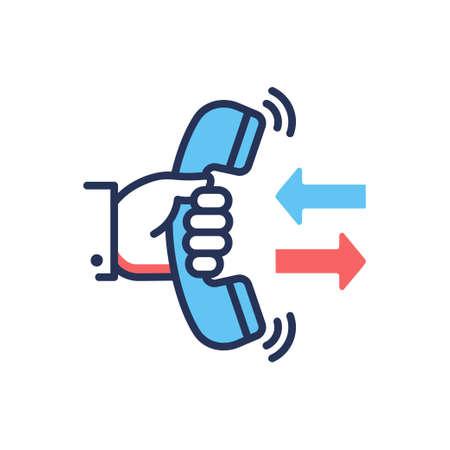 Oddzwoń - nowoczesny wektor ikona projektu pojedynczej linii. Obraz dłoni trzymającej telefon, dwie strzałki, kolory niebieski i czerwony, białe tło.