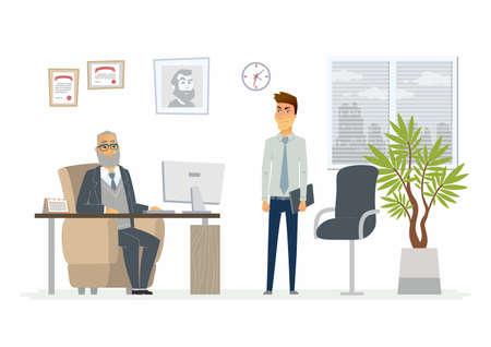Situation stressante au travail - illustration de personnages de dessin animé moderne Banque d'images - 87212631