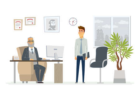 Stressful situation at work - modern cartoon people characters illustration