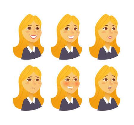 Vrouw Uitdrukkingen - vector plat set beelden