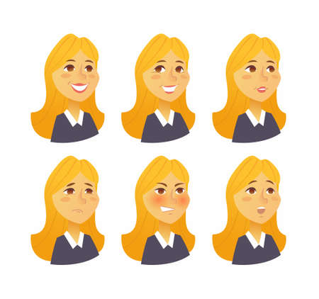 Woman Expressions - vector flat set of images