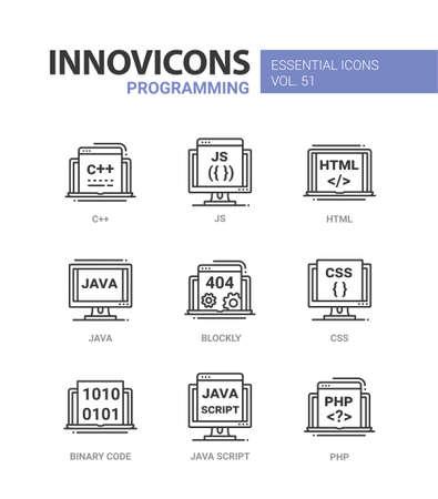 Programming - modern vector line icons set. Illustration