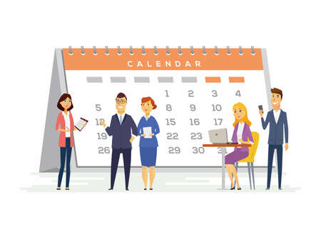 Time management with people sitting and standing with a big calendar behind. Illustration