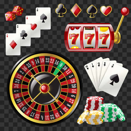 Set of casino objects - modern vector realistic isolated clip art Çizim