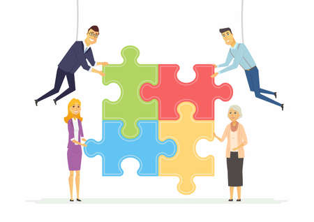 Team building in a company - Puzzle building  modern cartoon people characters illustration Illustration