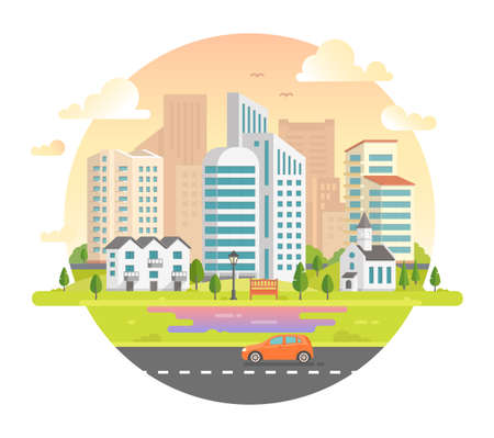 residential homes: Cityscape with skyscrapers in a round frame - modern illustration. Lovely city on white with a road, car, church, lantern, bench, low storey building, trees, clouds, birds in the sky Illustration