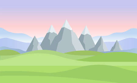 Sunset or dawn in mountains landscape - modern vector illustration. Beautiful view with snowy tops, pink and lilac sky, grey rocks, green grass, field, meadow Иллюстрация