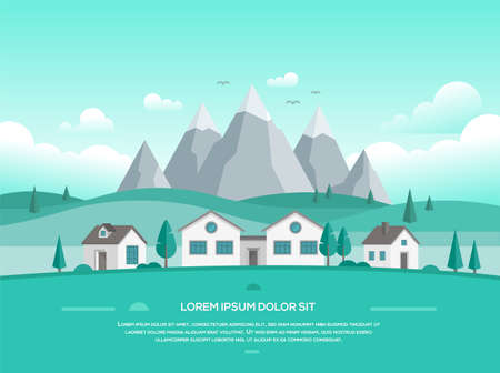 Landscape with houses by the mountains illustration.