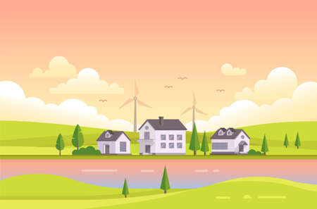 residential homes: A Small houses by the river during sunset vector illustration