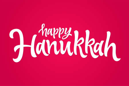 Happy Hanukkah vector hand drawn brush lettering on a red background.