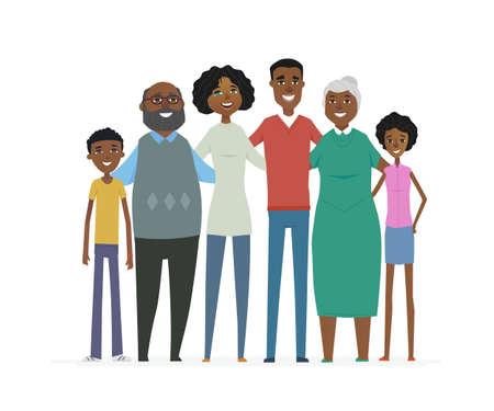 Gelukkige Afrikaanse familie - cartoon mensen karakters geïsoleerd illustratie Stockfoto